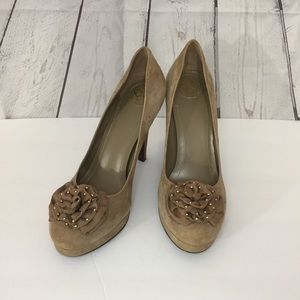 BCBGeneration Taupe Suede High Heel Shoes 8M
